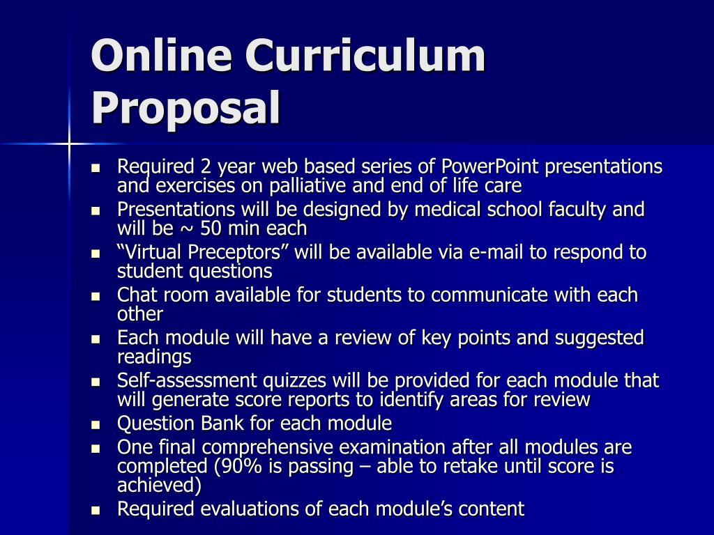 Online Curriculum Proposal