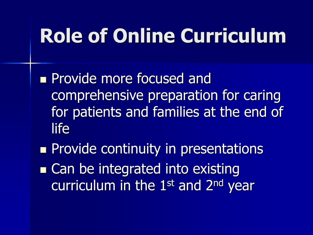 Role of Online Curriculum