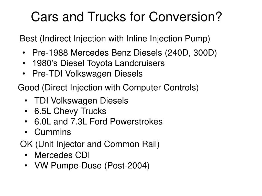 Cars and Trucks for Conversion?