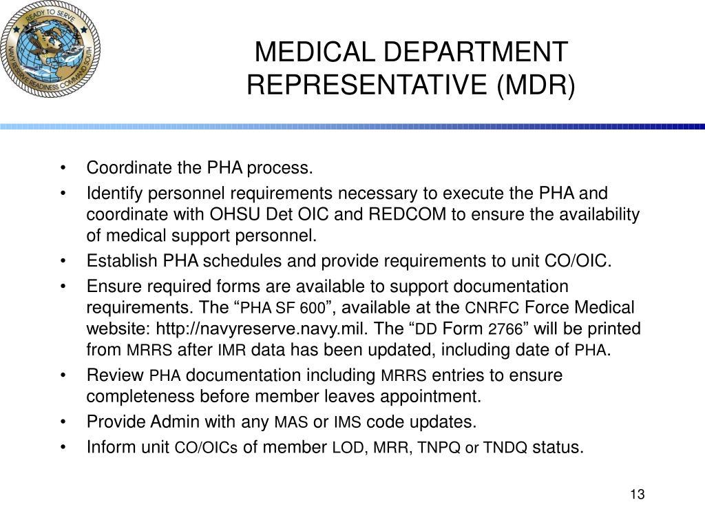 MEDICAL DEPARTMENT REPRESENTATIVE (MDR)