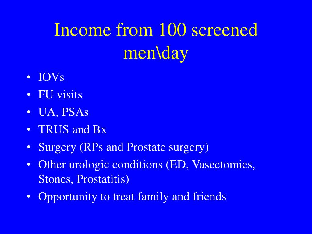 Income from 100 screened men\day