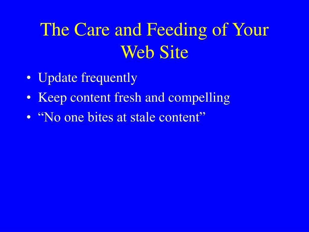 The Care and Feeding of Your Web Site