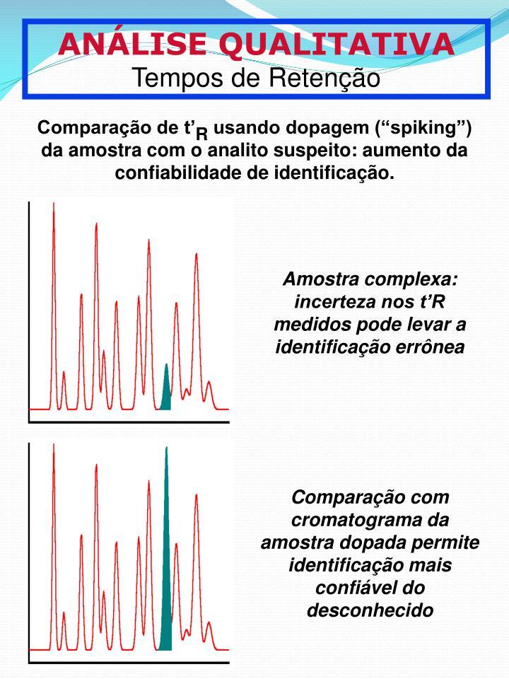 Amostra complexa: incerteza nos tR medidos pode levar a identificao errnea