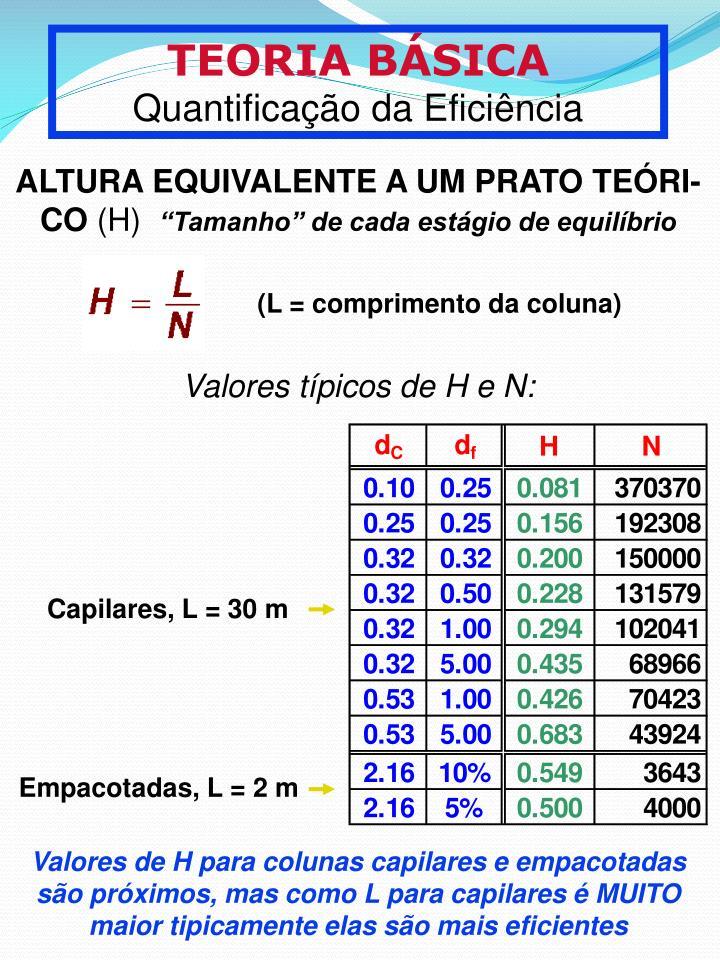 (L = comprimento da coluna)