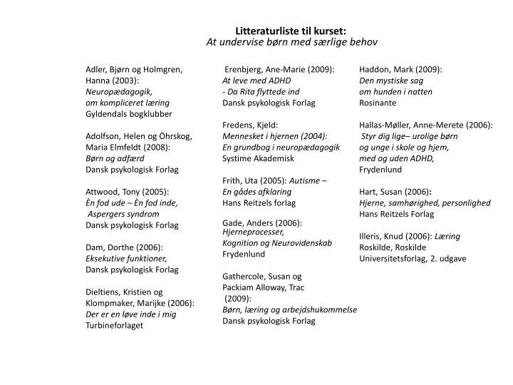Litteraturliste til kurset: