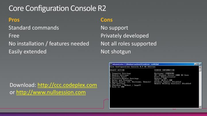 Core Configuration Console R2