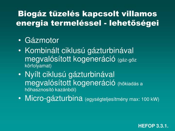 Biogáz tüzelés kapcsolt villamos energia termeléssel - lehetőségei