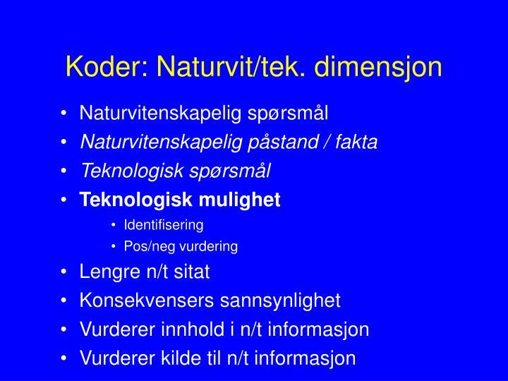 Koder: Naturvit/tek. dimensjon