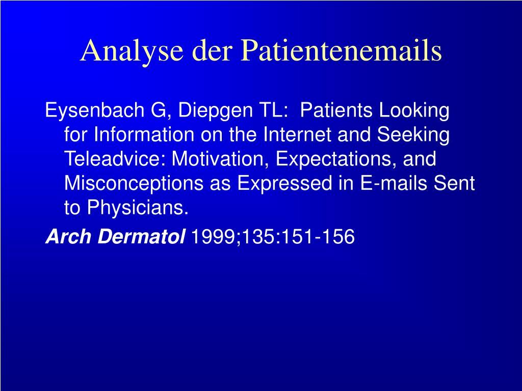 Analyse der Patientenemails