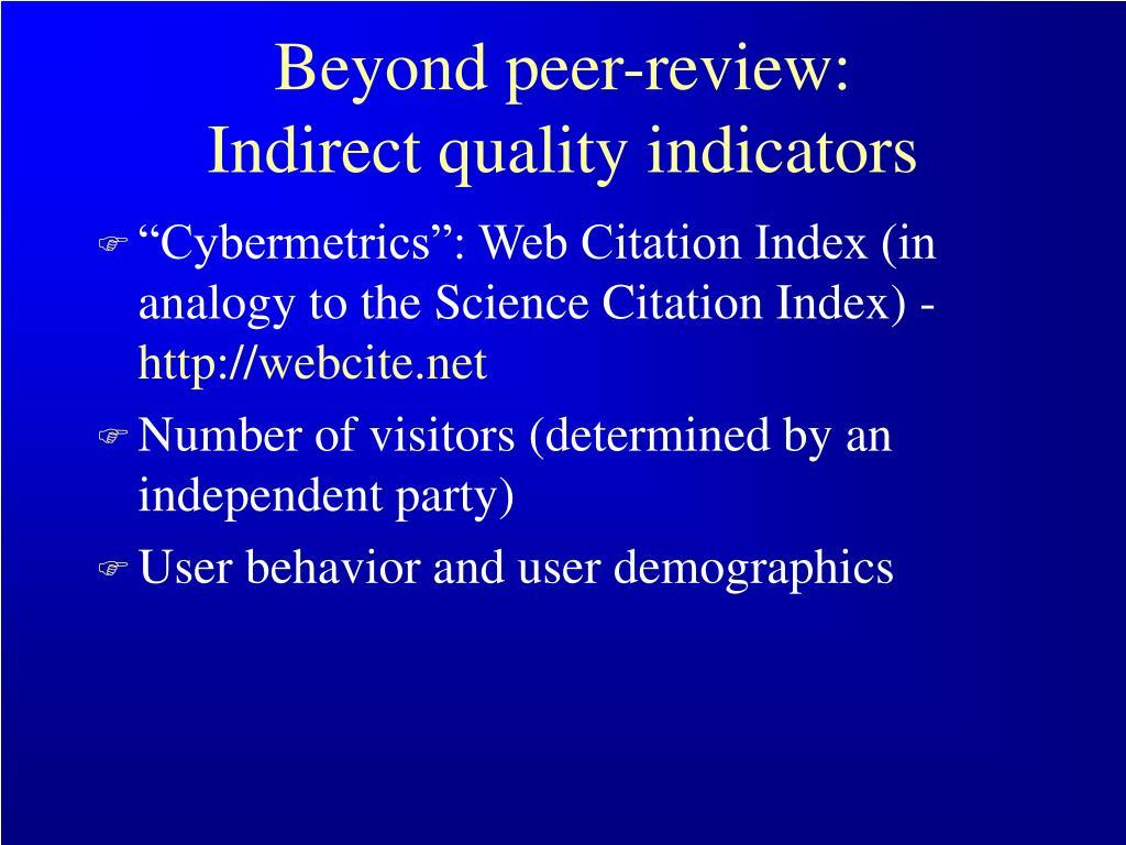Beyond peer-review: