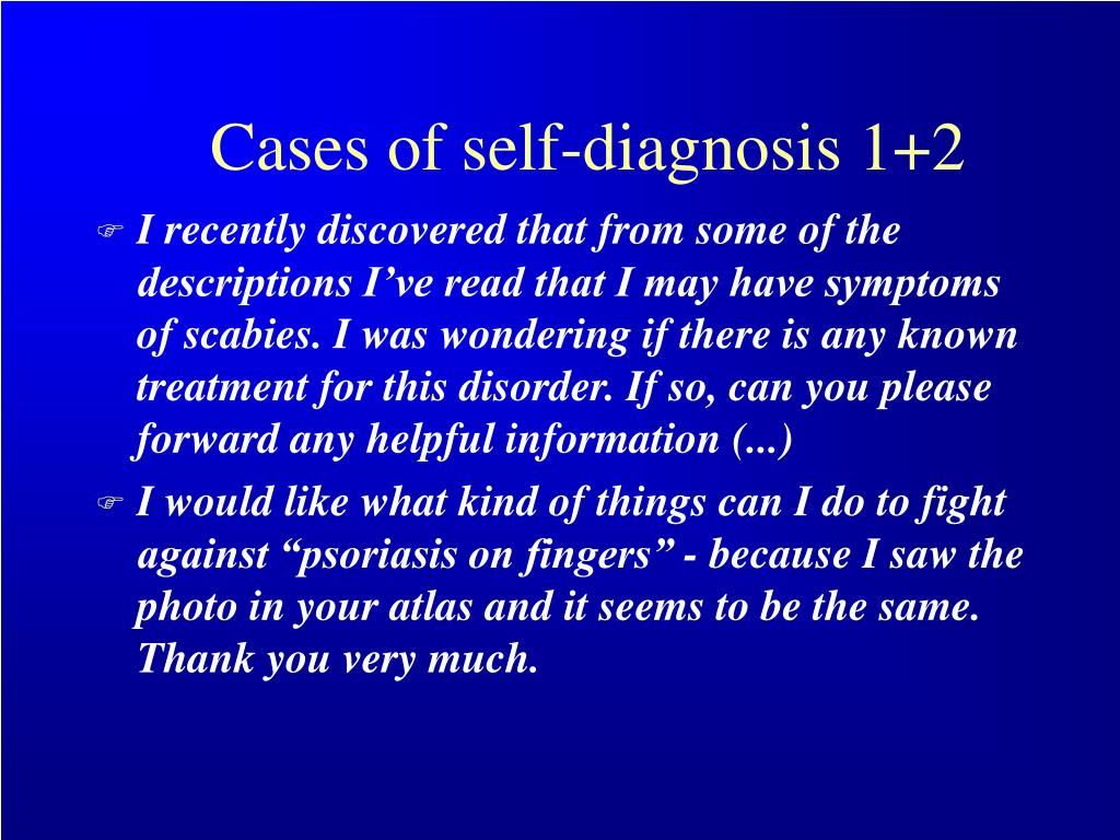 Cases of self-diagnosis 1+2