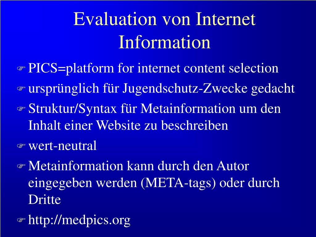 Evaluation von Internet Information