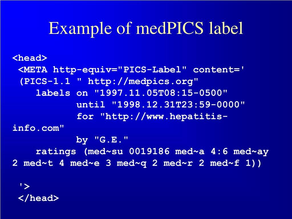Example of medPICS label