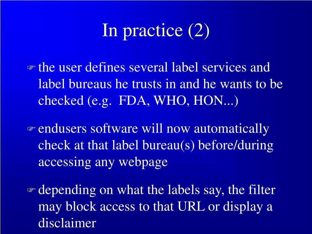 In practice (2)
