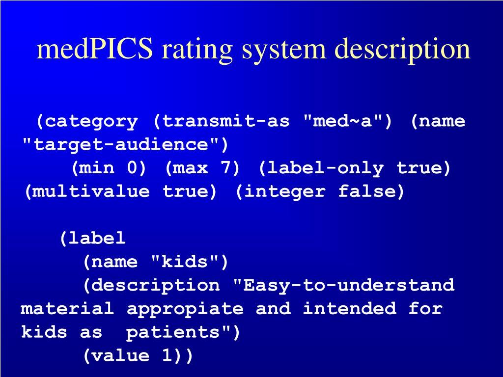 medPICS rating system description