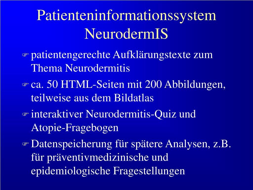 Patienteninformationssystem NeurodermIS