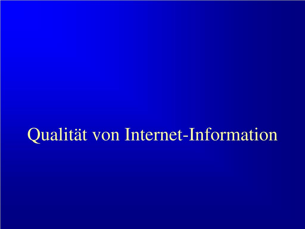 Qualität von Internet-Information