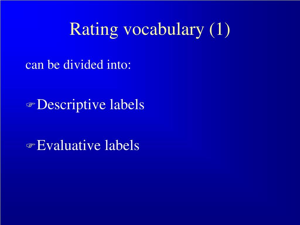 Rating vocabulary (1)