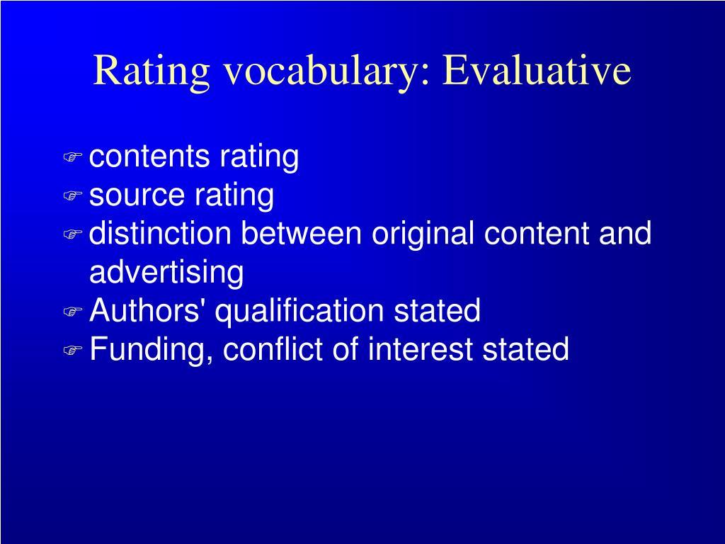 Rating vocabulary: Evaluative
