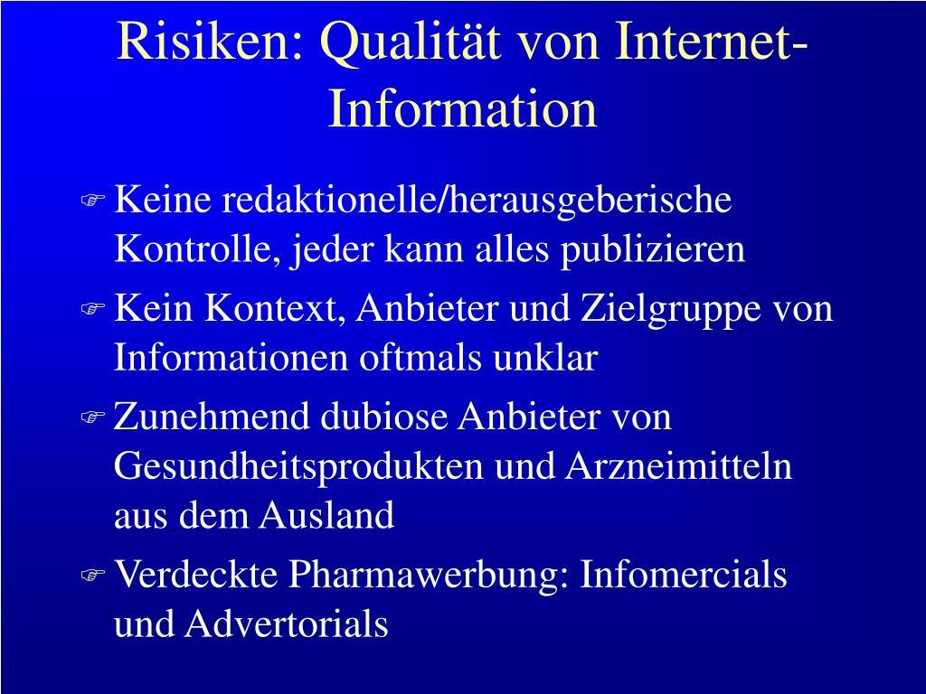 Risiken: Qualität von Internet-Information