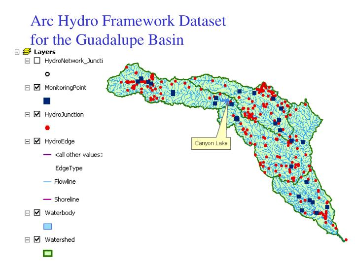 Arc Hydro Framework Dataset for the Guadalupe Basin