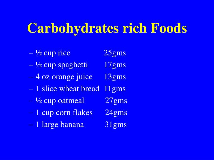 Carbohydrates rich Foods