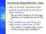 functional dependencies uses