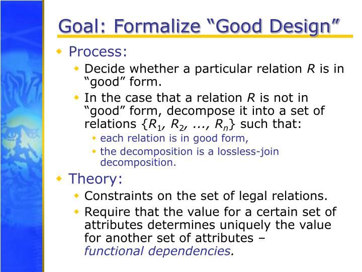"""Goal: Formalize """"Good Design"""""""