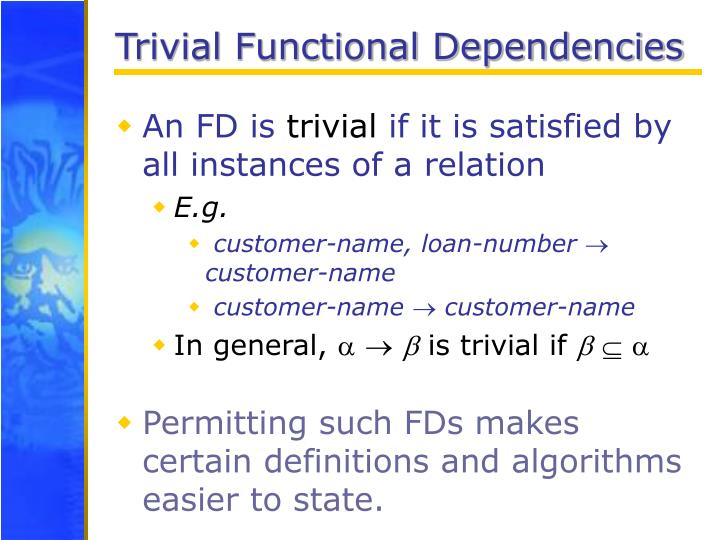 Trivial Functional Dependencies