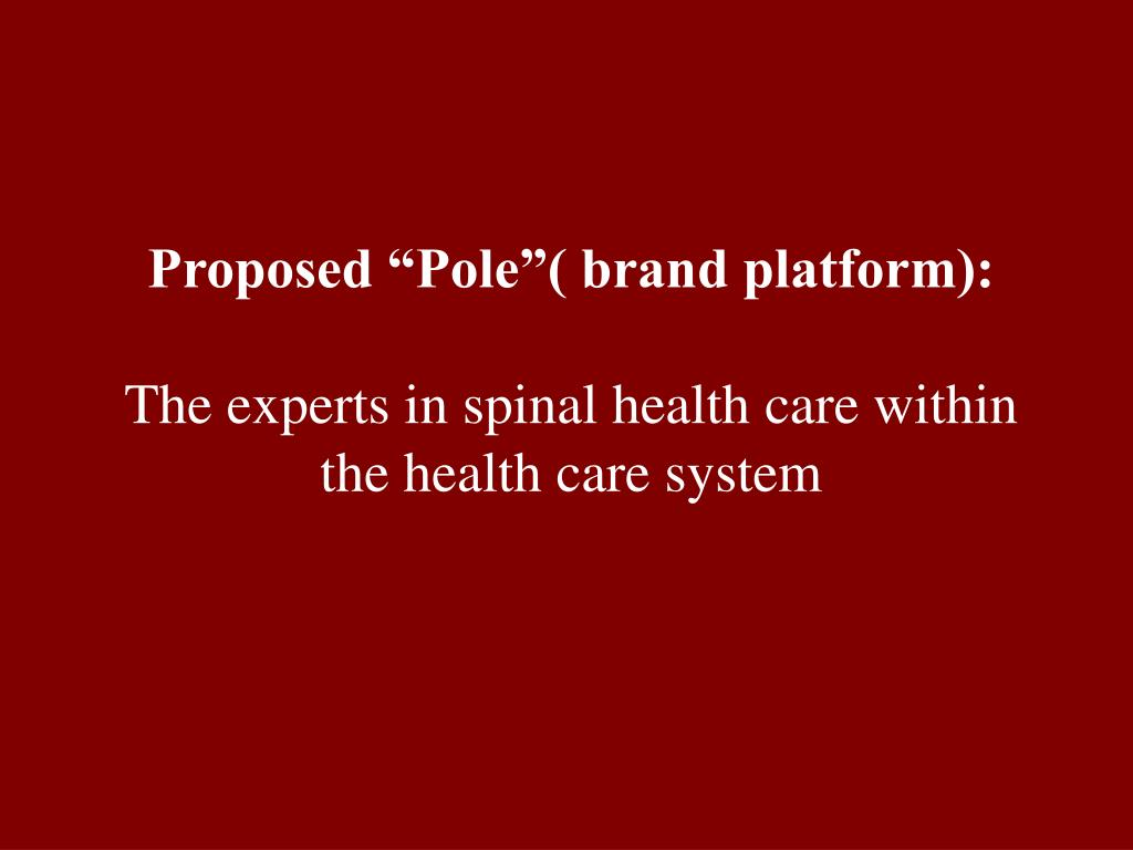 "Proposed ""Pole""( brand platform):"
