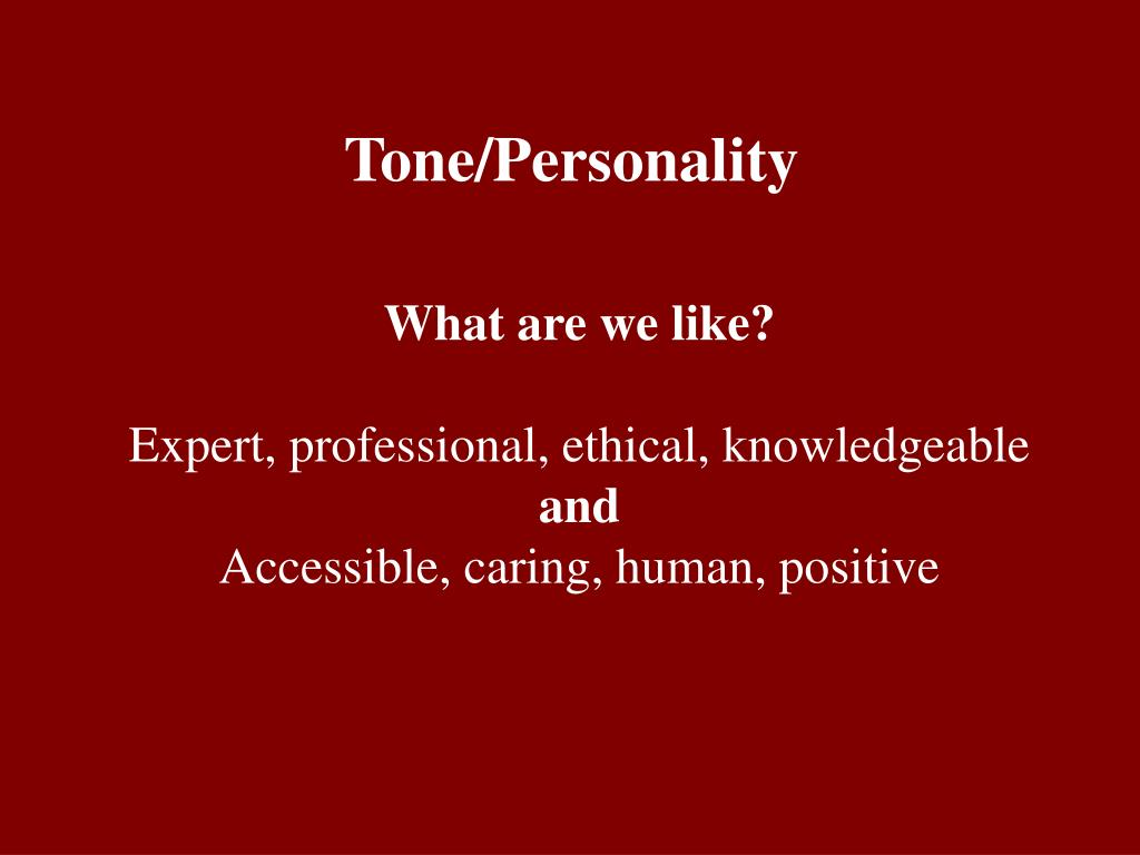 Tone/Personality