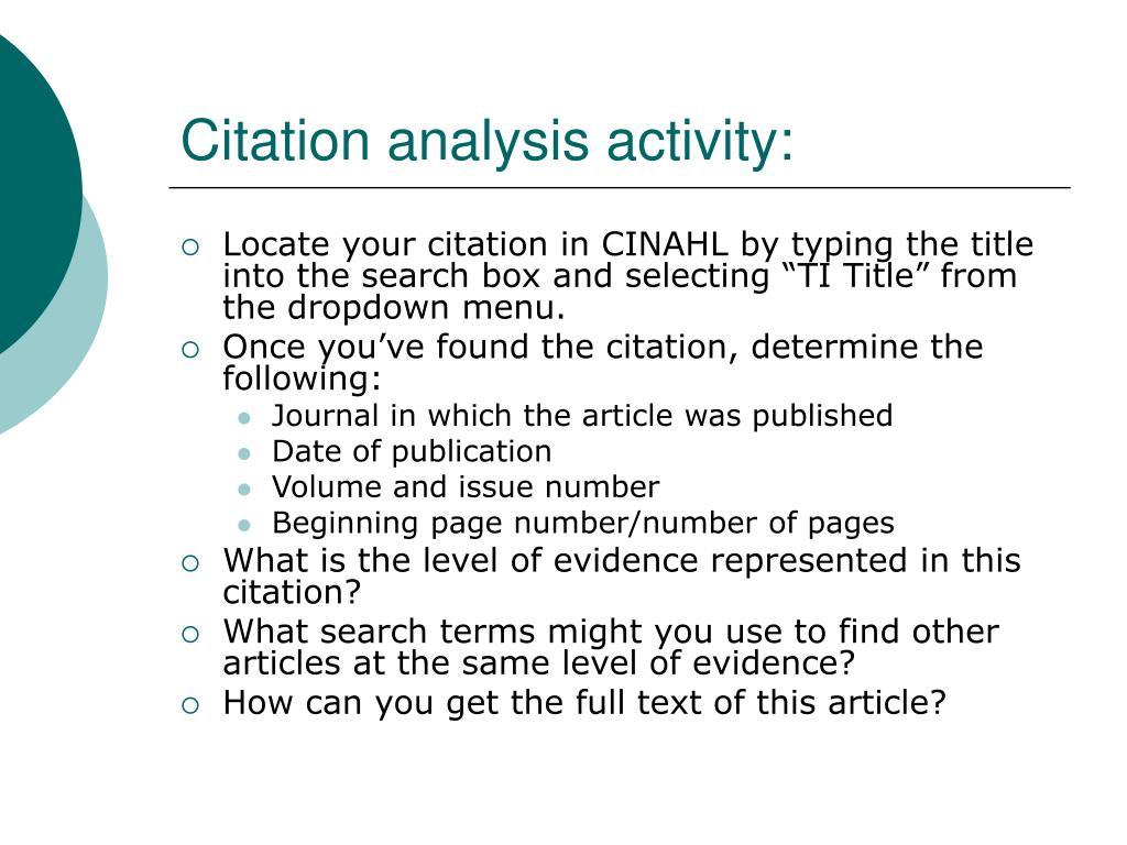 Citation analysis activity:
