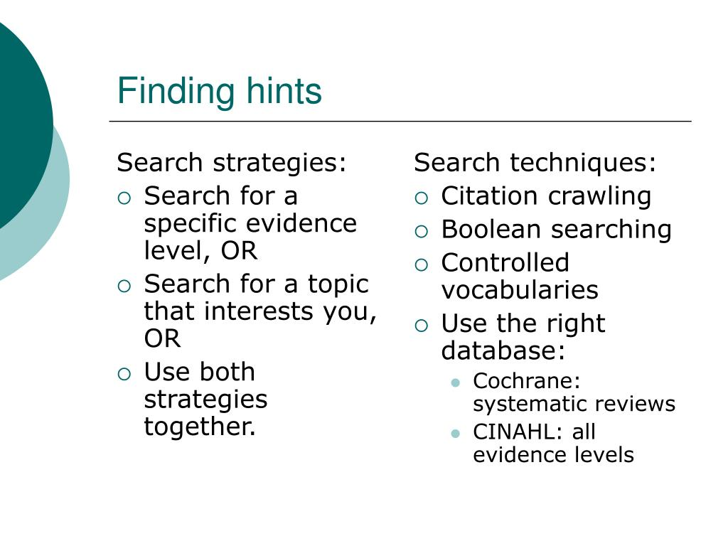 Search strategies: