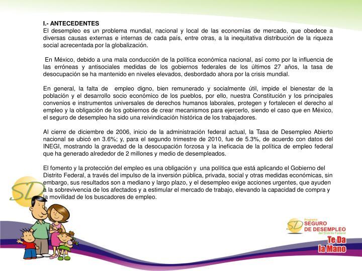 I.- ANTECEDENTES