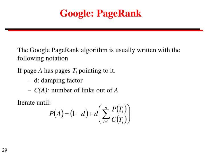 Google: PageRank