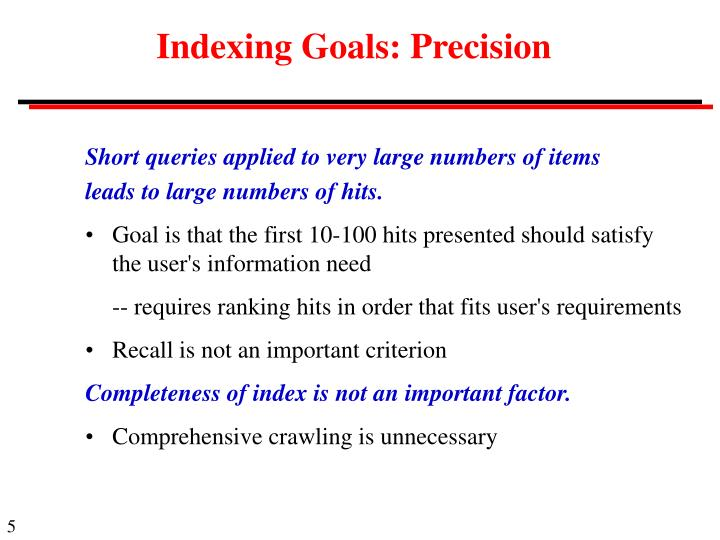 Indexing Goals: Precision