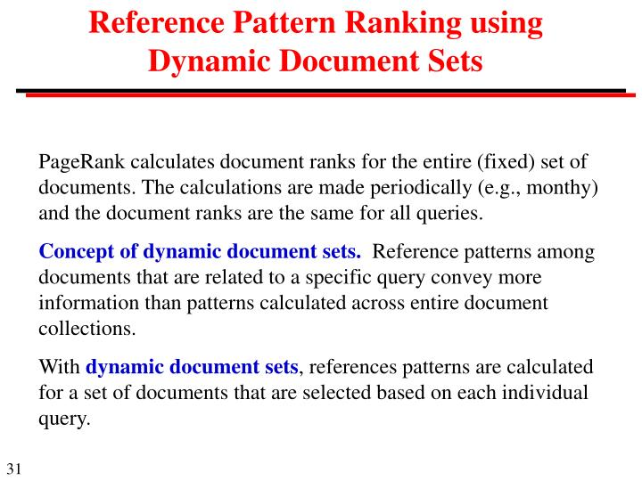 Reference Pattern Ranking using Dynamic Document Sets
