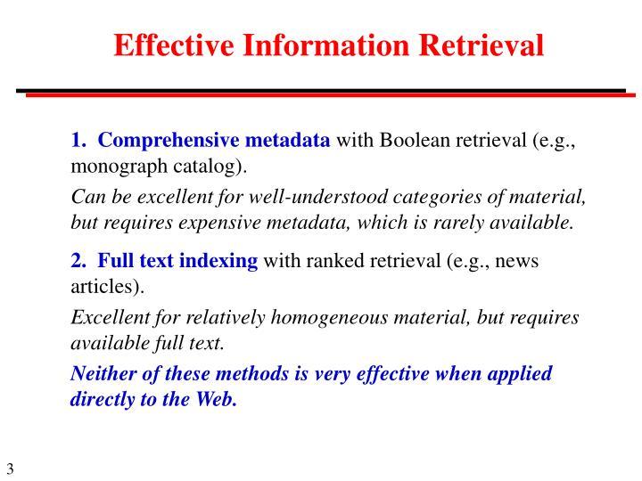 Effective Information Retrieval