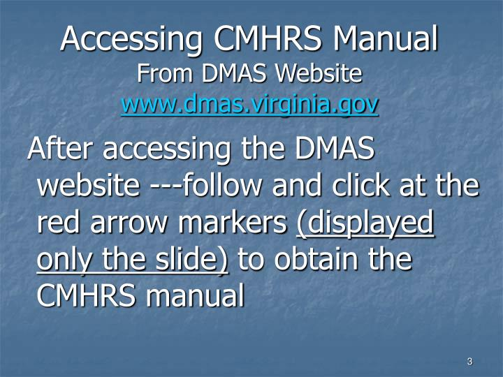 Accessing cmhrs manual from dmas website www dmas virginia gov