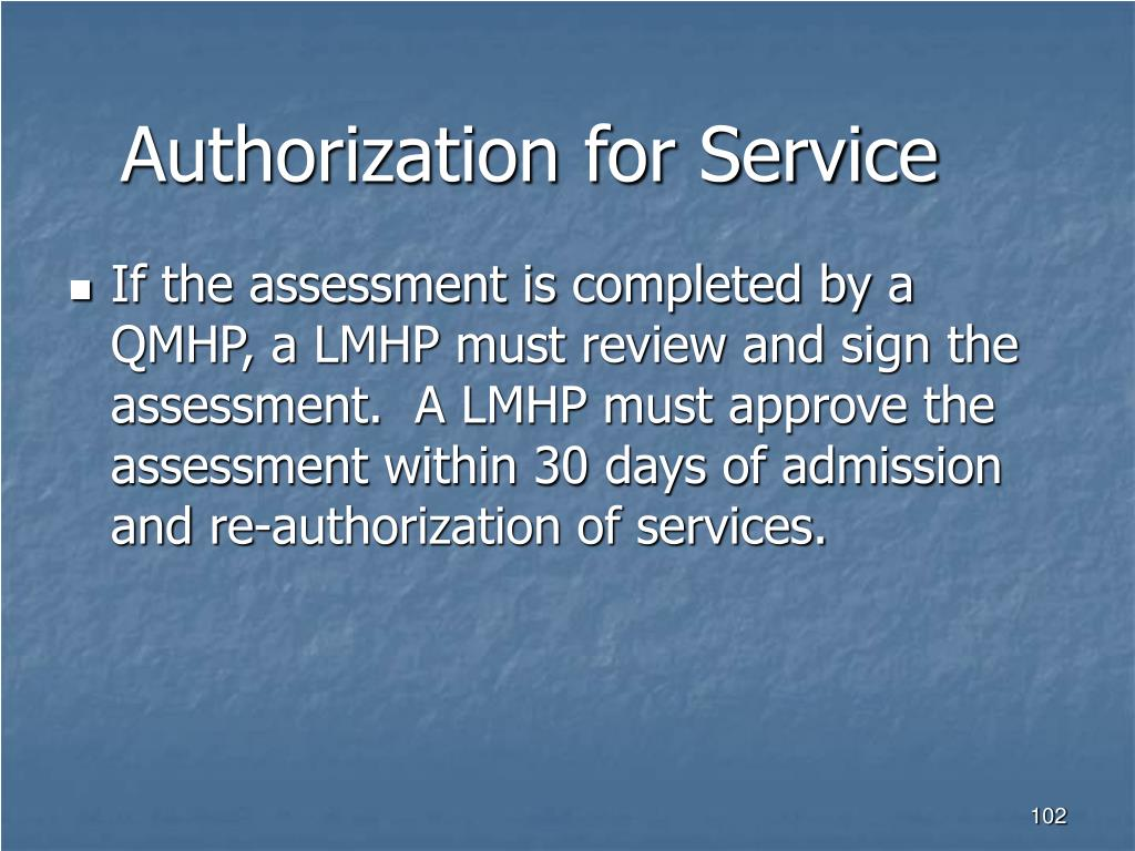 Authorization for Service