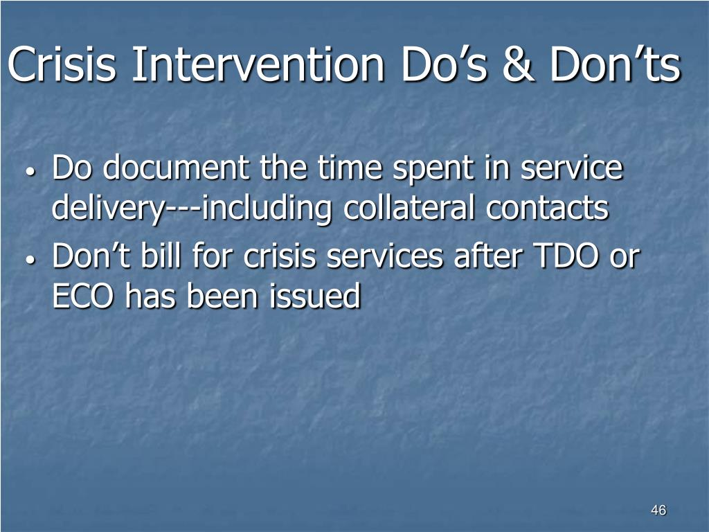 Crisis Intervention Do's & Don'ts