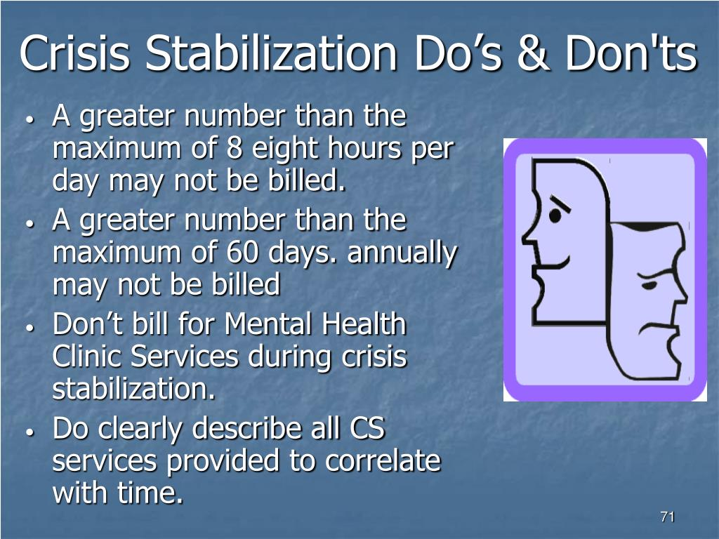 Crisis Stabilization Do's & Don'ts