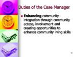 duties of the case manager122
