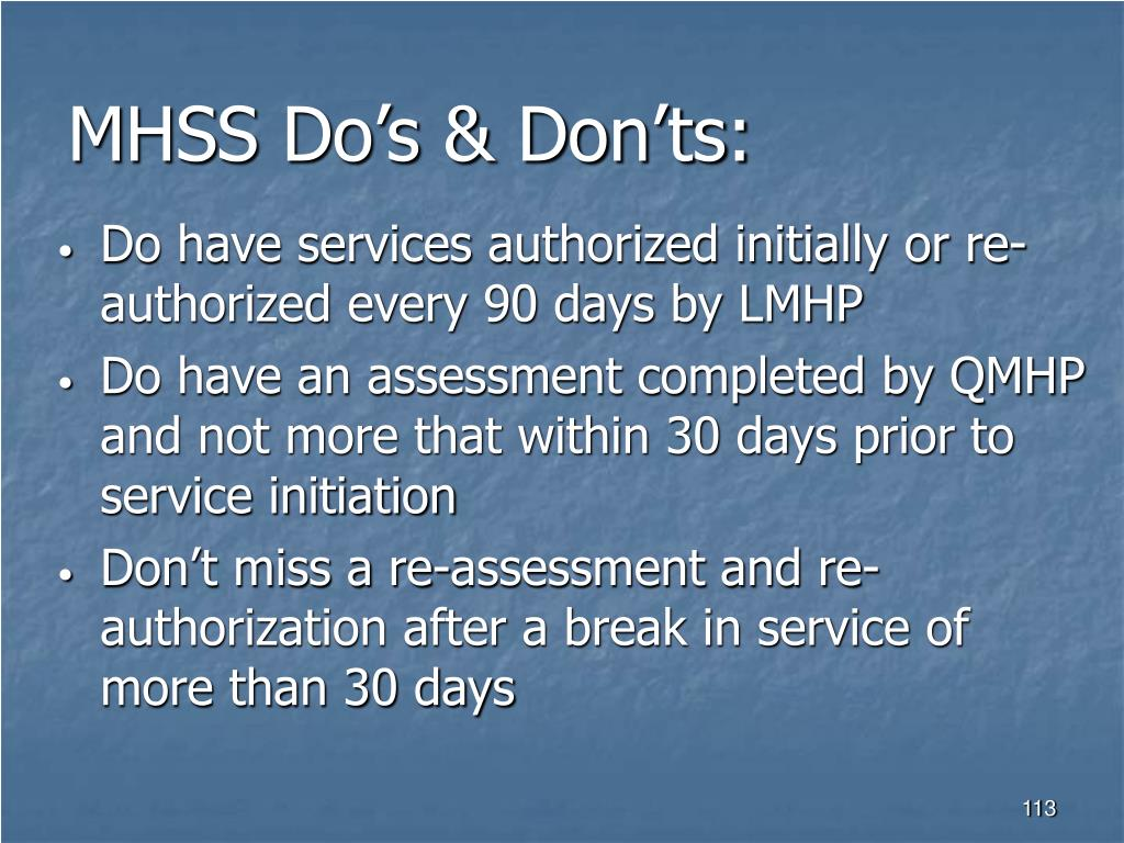 MHSS Do's & Don'ts: