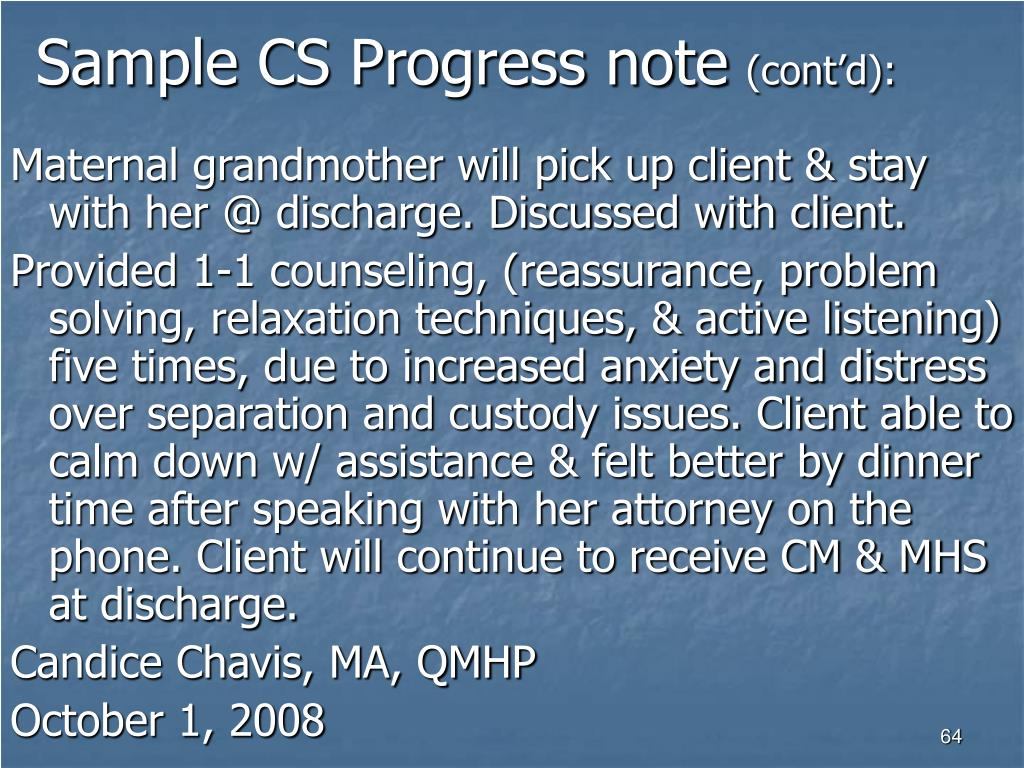 Sample CS Progress note