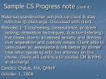 sample cs progress note cont d
