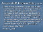 sample mhss progress note cont d