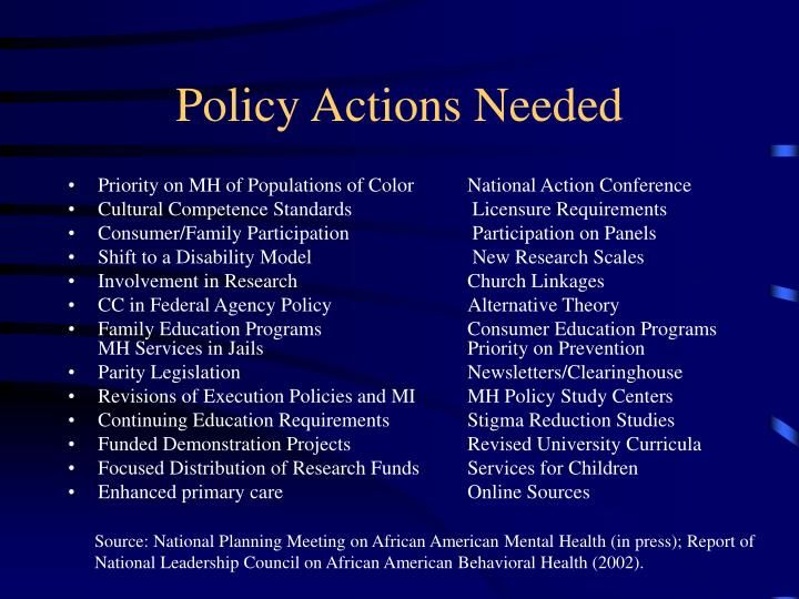 Policy Actions Needed