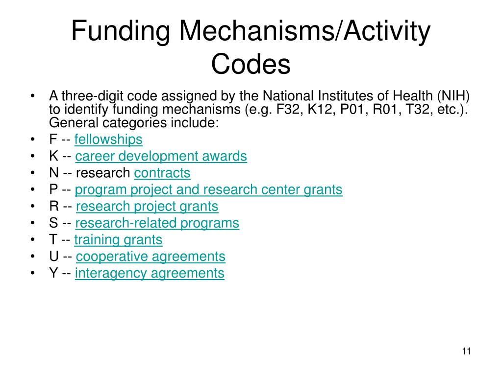 Funding Mechanisms/Activity Codes