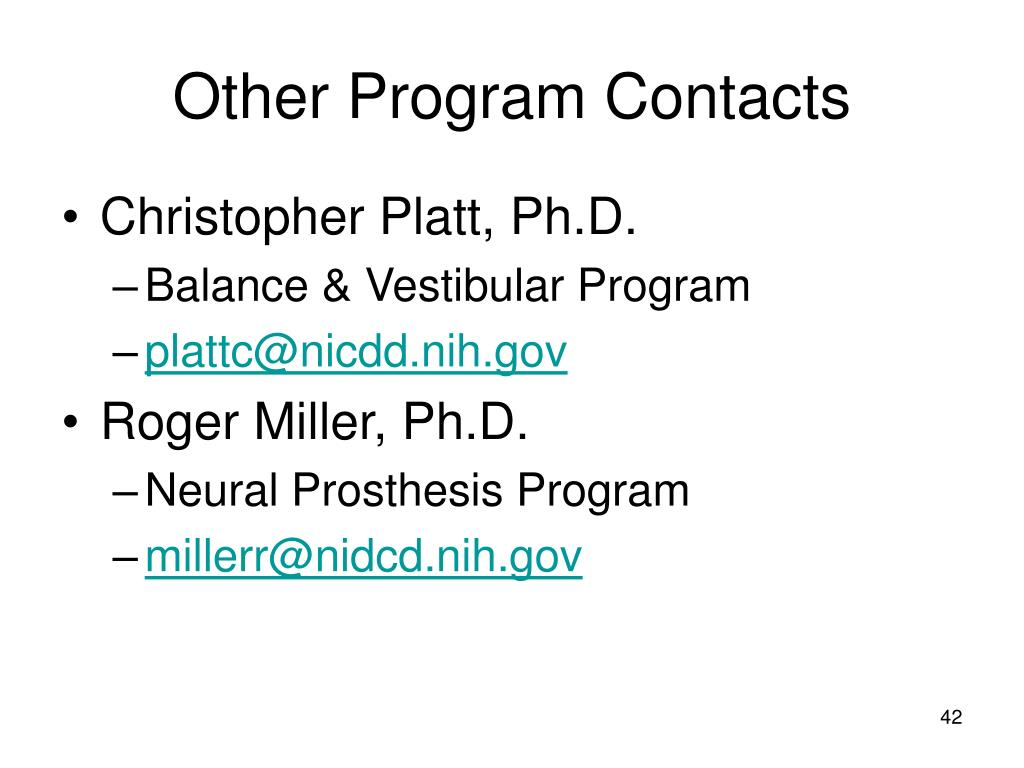 Other Program Contacts